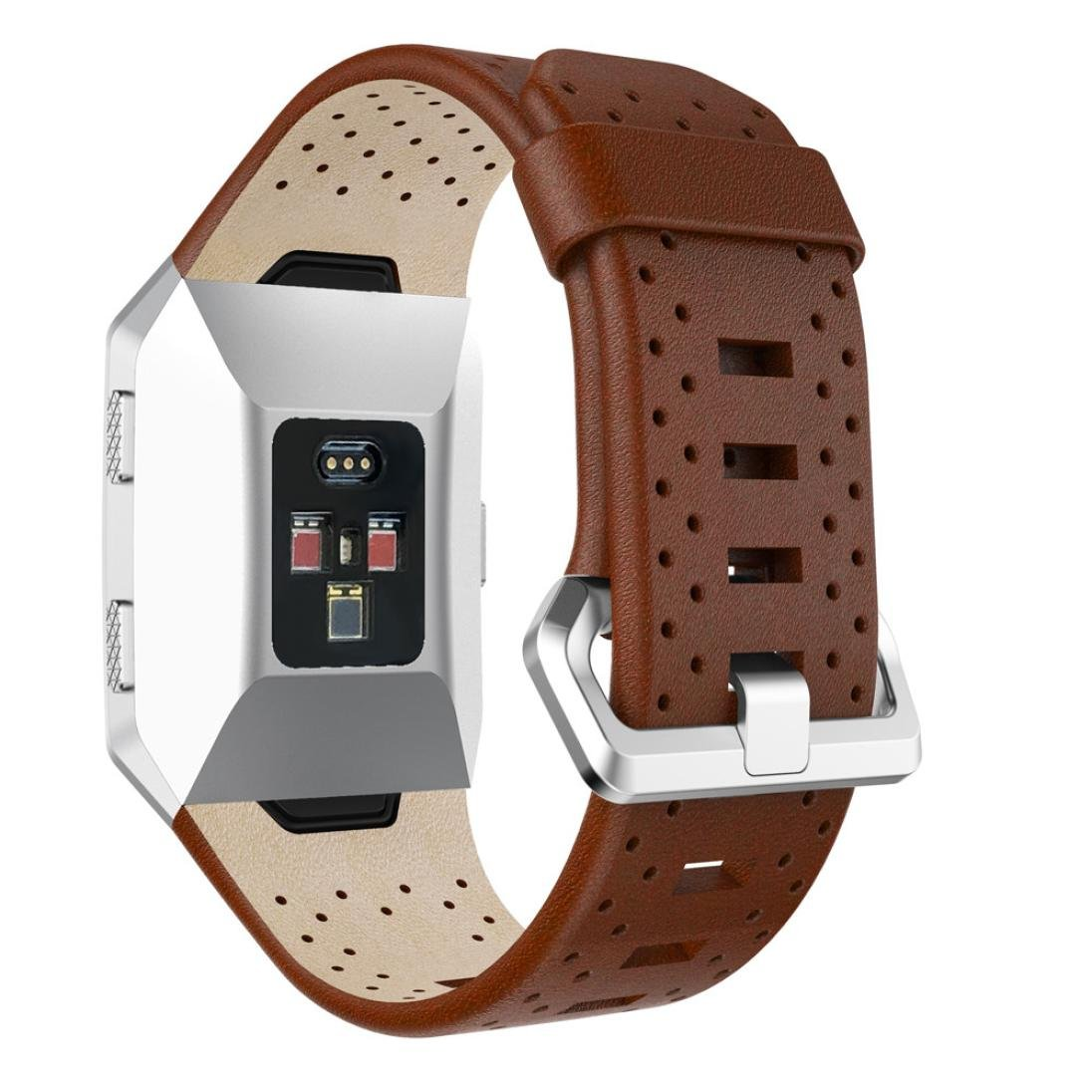 nacome for Fitbit Ionic Perforatedレザーアクセサリーバンドブレスレットクイックリリース B0776RG6YH  ブラウン