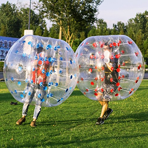 Popsport Inflatable Bumper Ball 4FT/5FT Bubble Soccer Ball 0.8mm Eco-Friendly PVC Zorb Ball Human Hamster Ball for Adults and Kids (5FT 2Pcs)]()
