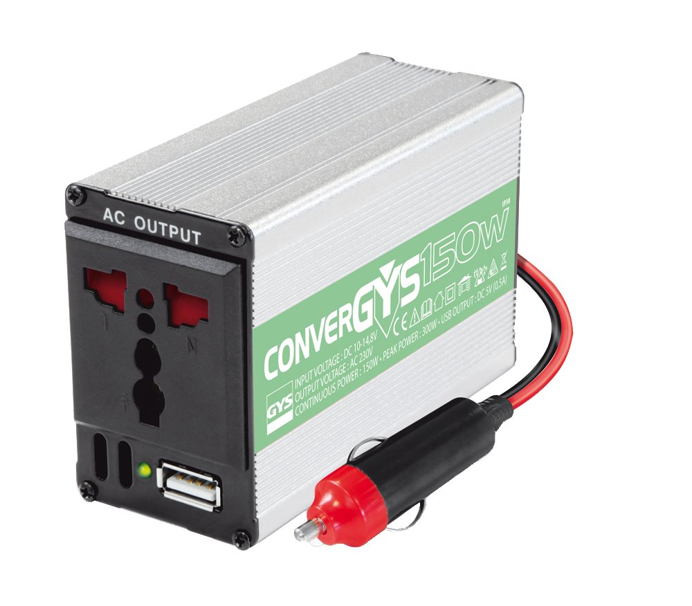 GYS Convergys 150 12-240V 150W Power Inverter with 3-Pin Plug Socket and USB Port