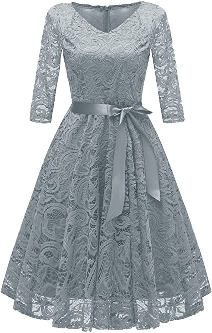 Womens Vintage 1950s Style Floral Print Dress Swing Pleated V Neck Tie Formal Cocktail Party Dresses Transer