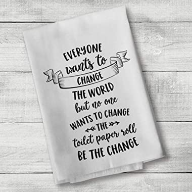 Be The Change Hand Bath Towels Washcloths Multipurpose Guest Bathroom Towel for Hand, Face, Gym and Spa White 17x 35 Inch(35x75cm) Color:Be The Change