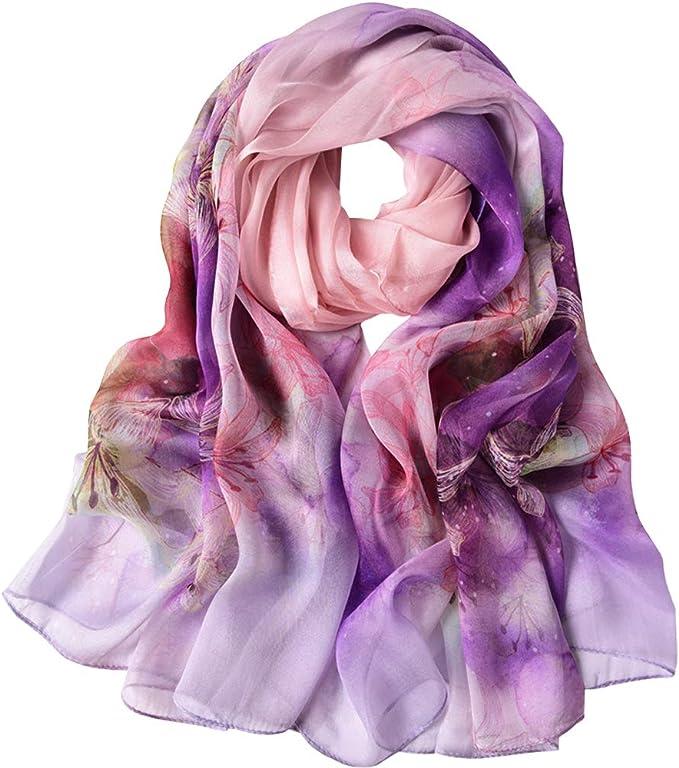 Pink Silk Scarf Purple Floral 100/% Pure Silk Scarf Ladies Flowers Flower Scarf