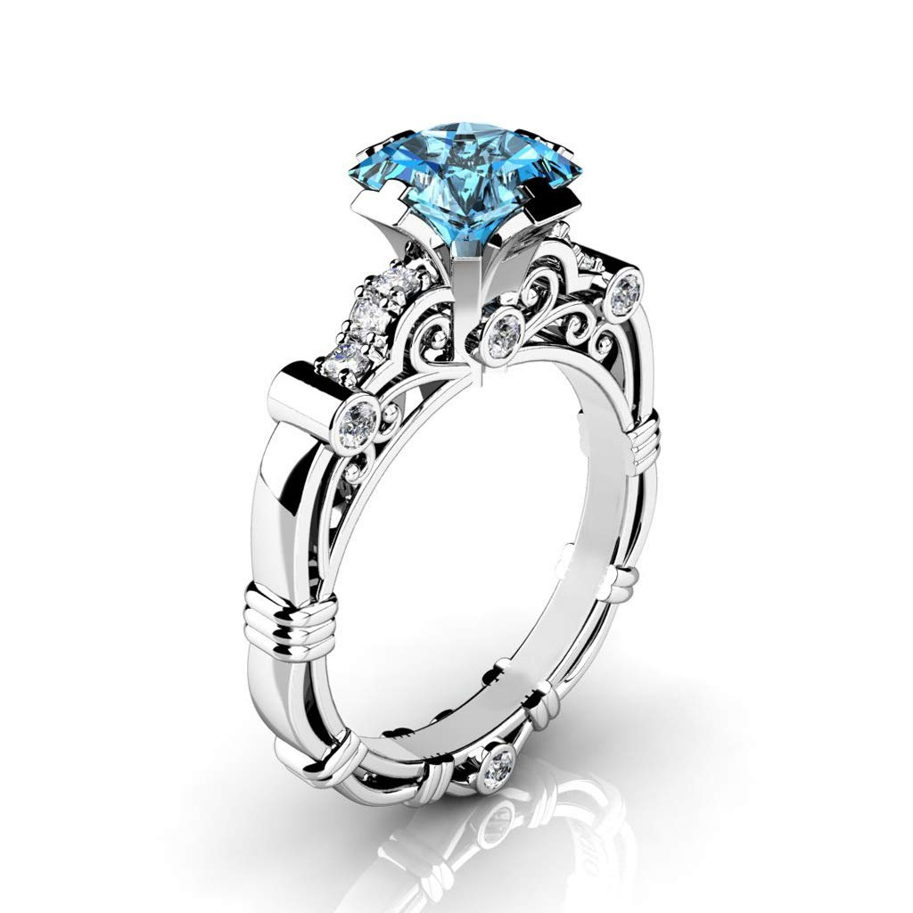 Commitment Ring Copper Silver Plated Diamond Drilled Scroll Pattern Eternal Ring Sea Blue MGZDH Ms 10 No