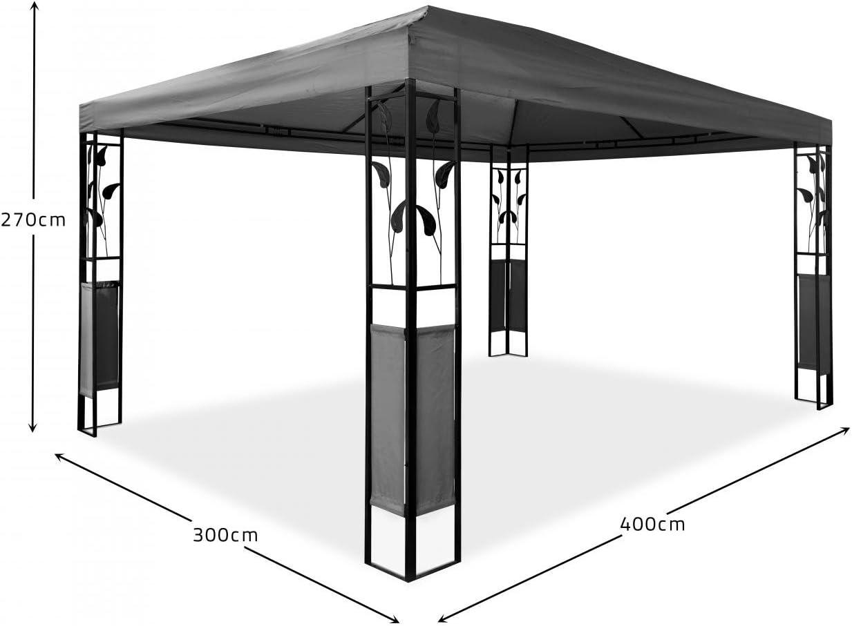 Cravog - Pabellón 3 x 4 impermeable, estable, lujo de alta calidad, poliéster, cenador con 4 cortinas, estructura de acero para fiestas y Oktoberfest, selección de colores, antracita: Amazon.es: Jardín