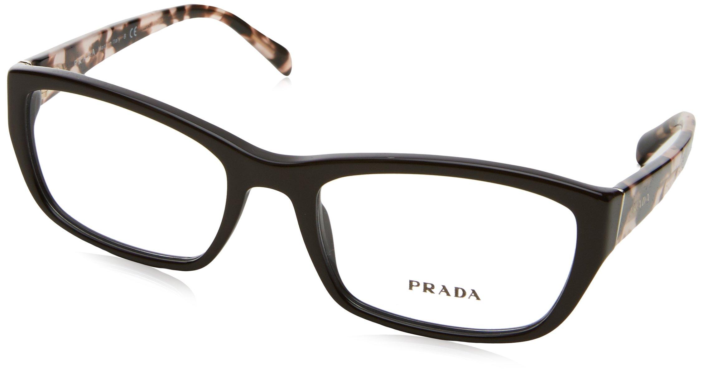 Prada PR18OV Eyeglass Frames DHO1O1-52 - Dark Brown PR18OV-DHO1O1-52