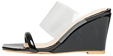 22248afbb7f AnnaKastle Womens Transparent Clear Strap Wedge Heel Mule Sandals Black