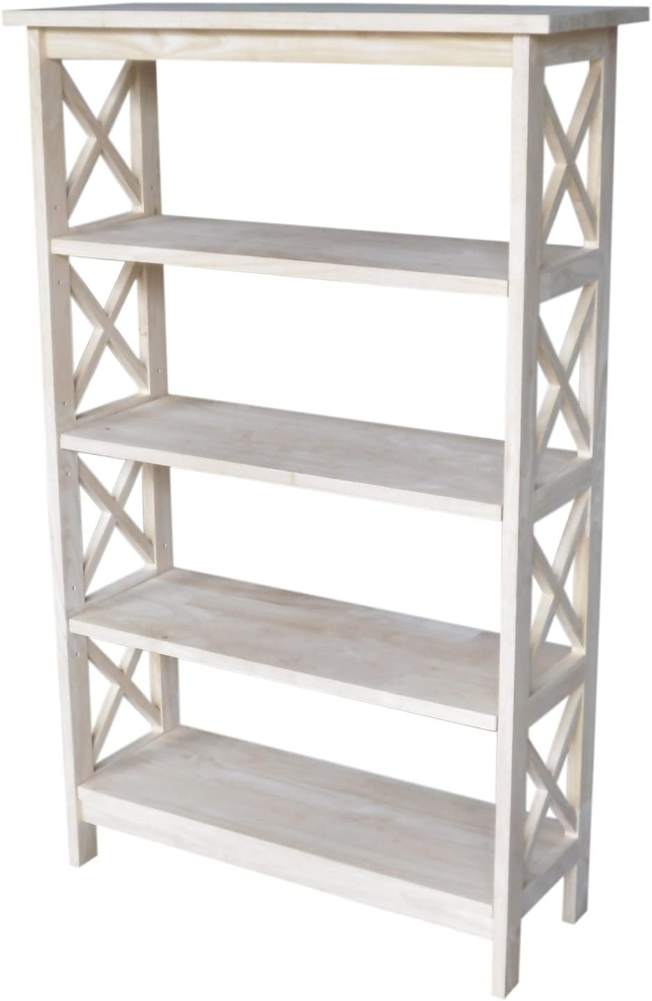 International Concepts 4-Tier X-Sided Bookcase, Unfinished