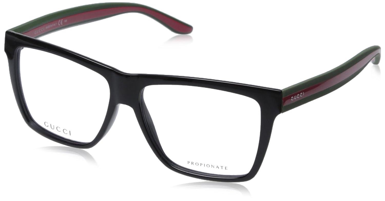 b4dfec1cab Gucci Men s 1008 Black   Red - Green Frame Plastic Eyeglasses   Amazon.co.uk  Clothing