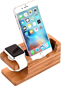 AICase Watch Stand, iWatch Bamboo Wood Charging Dock Charge Station Stock Cradle Holder for Apple Watch & iPhone X/ 8 Plus/ 8/7 Plus 6 6 Plus 5S 5 (Bamboo Wood II)