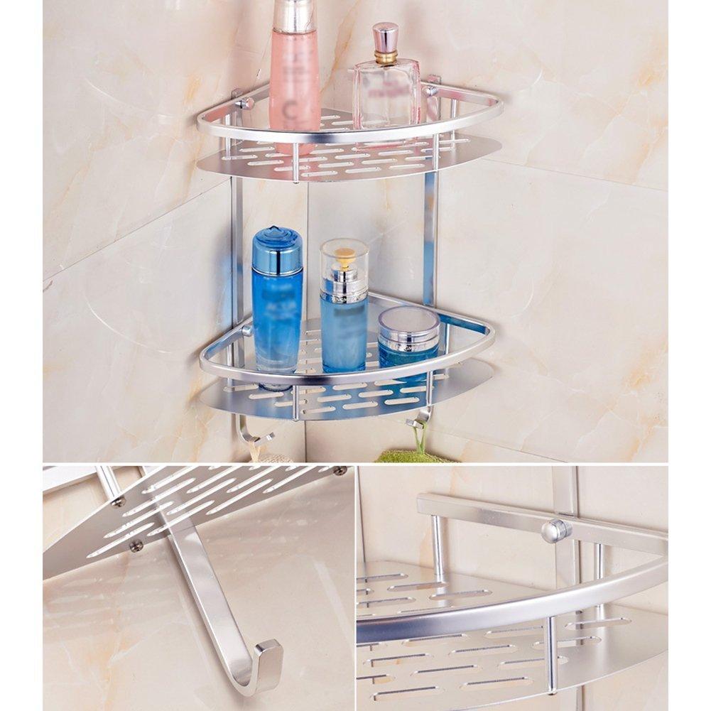 Siling 2 Tier Aluminum Alloy Kitchen Bathroom Corner Shelf Rack