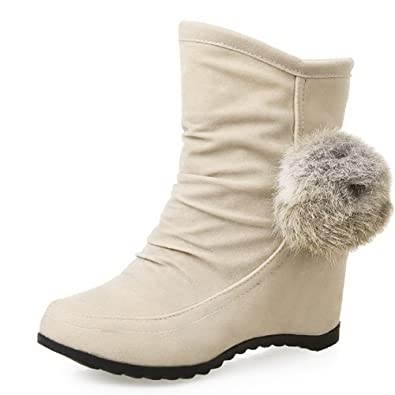 Women's Cow Imitated Suede Solid Pull On Round Closed Toe Kitten Heels Boots