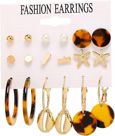 Fashion Geometric Boho Acrylic Metal Gold Silver Earrings Hook Stud Dangle Women