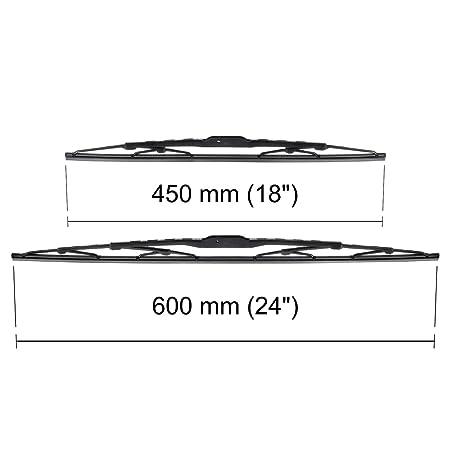 Escobillas limpiaparabrisas - Kit de luna delantera (conductor + copiloto) (600 mm / 450 mm) - 5902538542654: Amazon.es: Coche y moto