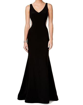 Xscape Womens Petites V-Neck Embellished Evening Dress Black 8P