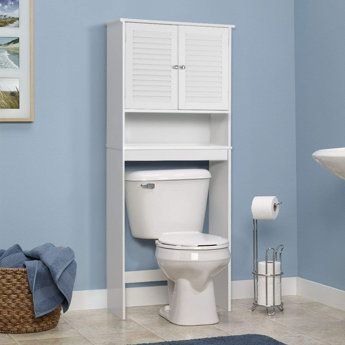 Giantex Bathroom Over-The-Toilet Space Saver Storage with Shelf and 2-Door Cabinet, White by Giantex