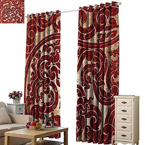 Homrkey Windshield Curtain Antique Thai Culture Vector Abstract Background Flower Pattern Wallpaper Design Artwork Print Blackout Draperies for Bedroom Living Room W96 xL108 Ruby ()