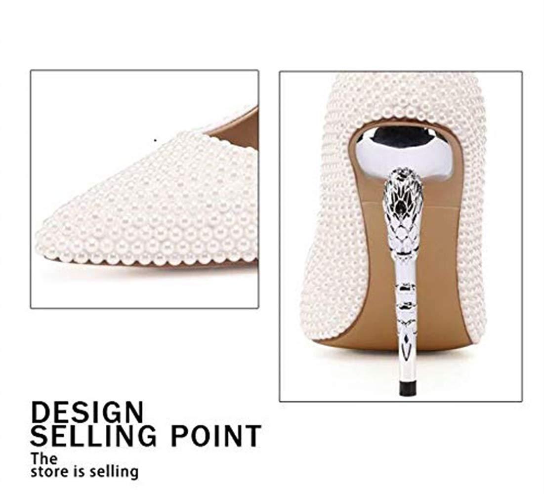 Moontang Dame Leder Leder Leder Silber Seepferdchen Ferse High Heels Braut Spitze feine Ferse Hochzeit Schuhe 11,5 cm (Farbe   Weiß Größe   5.5UK(Foot Length 25cm)) 2f4440