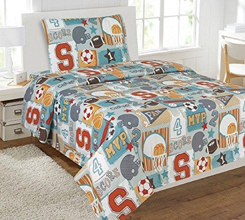 Mvp Sheet Set - WPM 3 Piece TWIN Sheet Set Kids/Teens Sports MVP Design Luxury Sheets New- Sports Champ