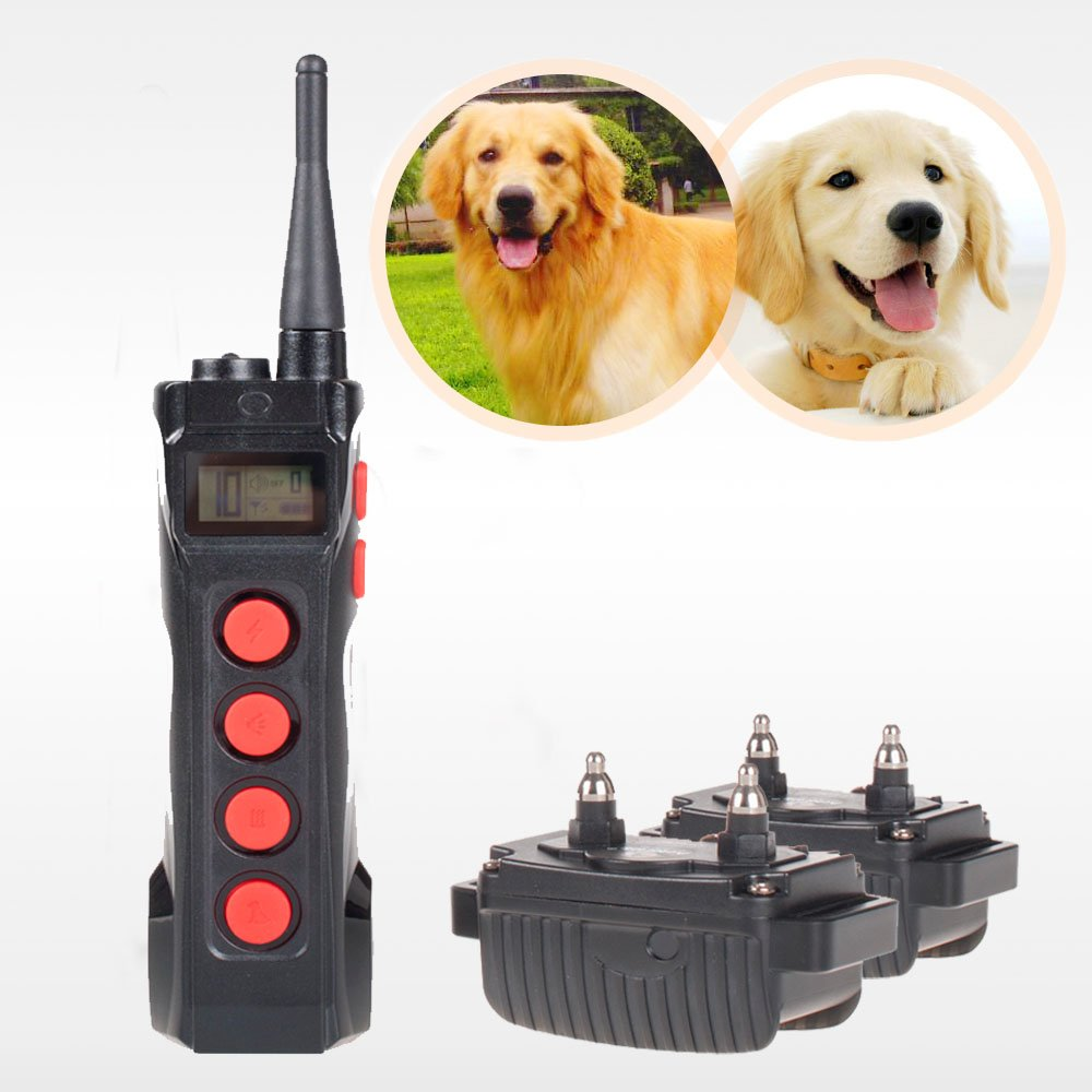 2016 Upgraded!!! Aetertek Professional At-919C Dog Shock Collar for 2 Dog 100% Waterproof Dog Trainer for Swimming Dog Bark Collar with LCD Display Rechargeable Pet Dog Training Shock Collar, Adjustable Shock Collar