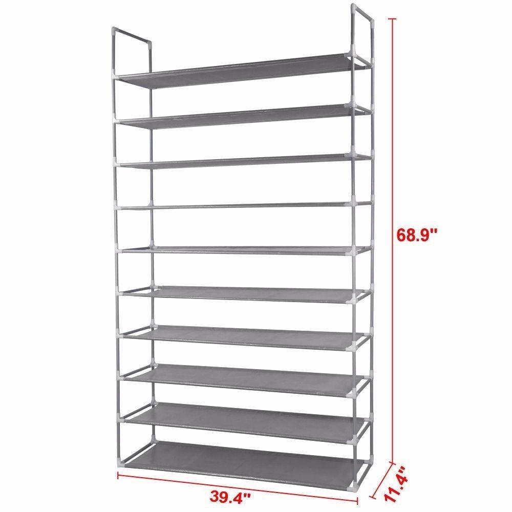 Amazon.com: 50 Pair 10 Tier Space Saving Storage Organizer Shoes Tower Rack  Free Standing: Home U0026 Kitchen