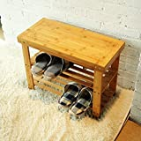 Small Bathroom Storage Bench HanKey 100% Natural Bamboo Shoe Bench 2-Tier HX02-1 (23.6