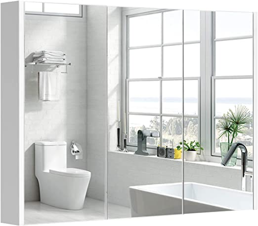 COSTWAY Baño Armario con Espejo de Pared Estante Gabinete para Toalla Cepillo de Mueble Organizador: Amazon.es: Hogar