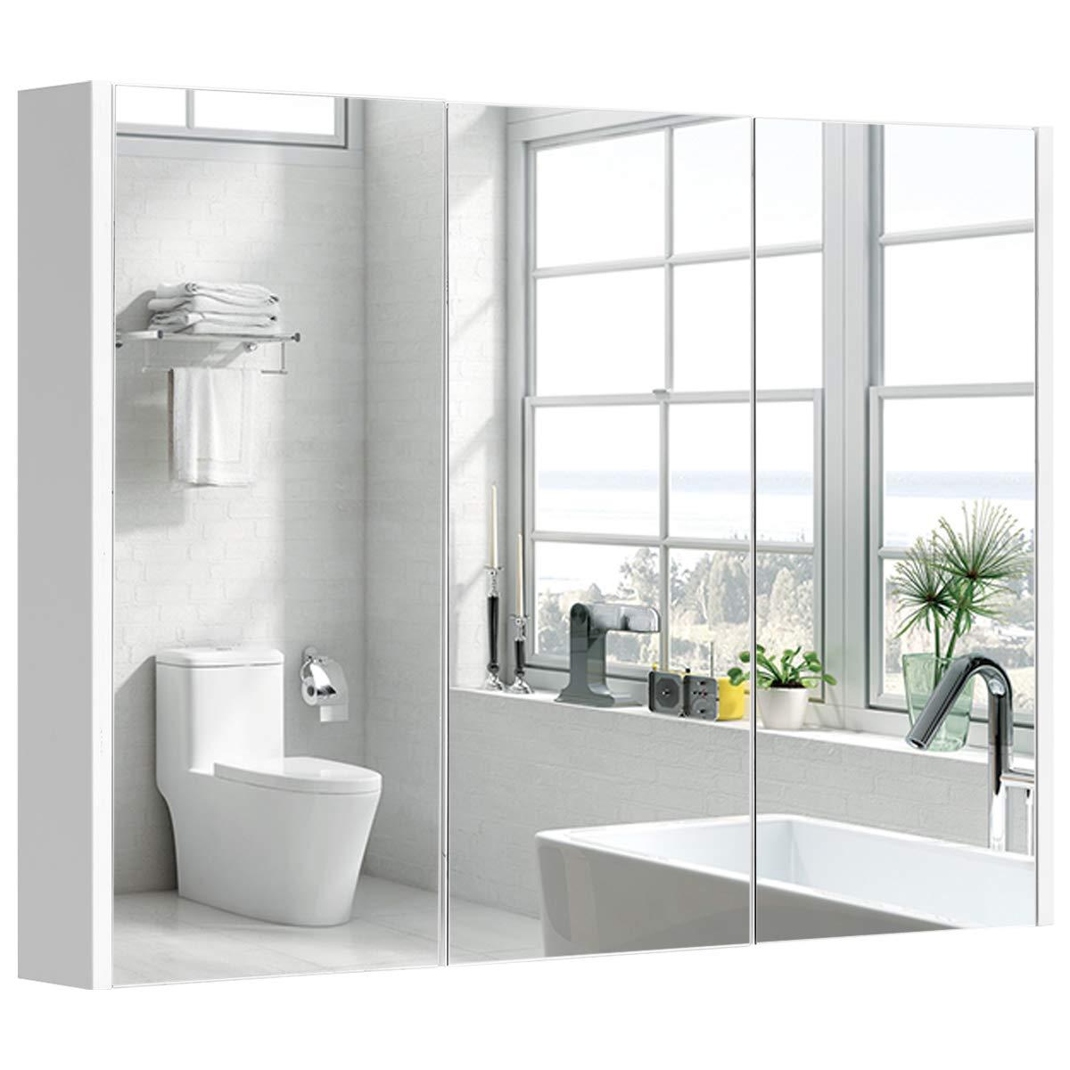 Tangkula Bathroom Medicine Cabinet, Wide Wall Mount Mirrored Cabinet with Adjustable Shelf, Bathroom Triple Mirror Door Cabinet (36'' X25.5X4.5)