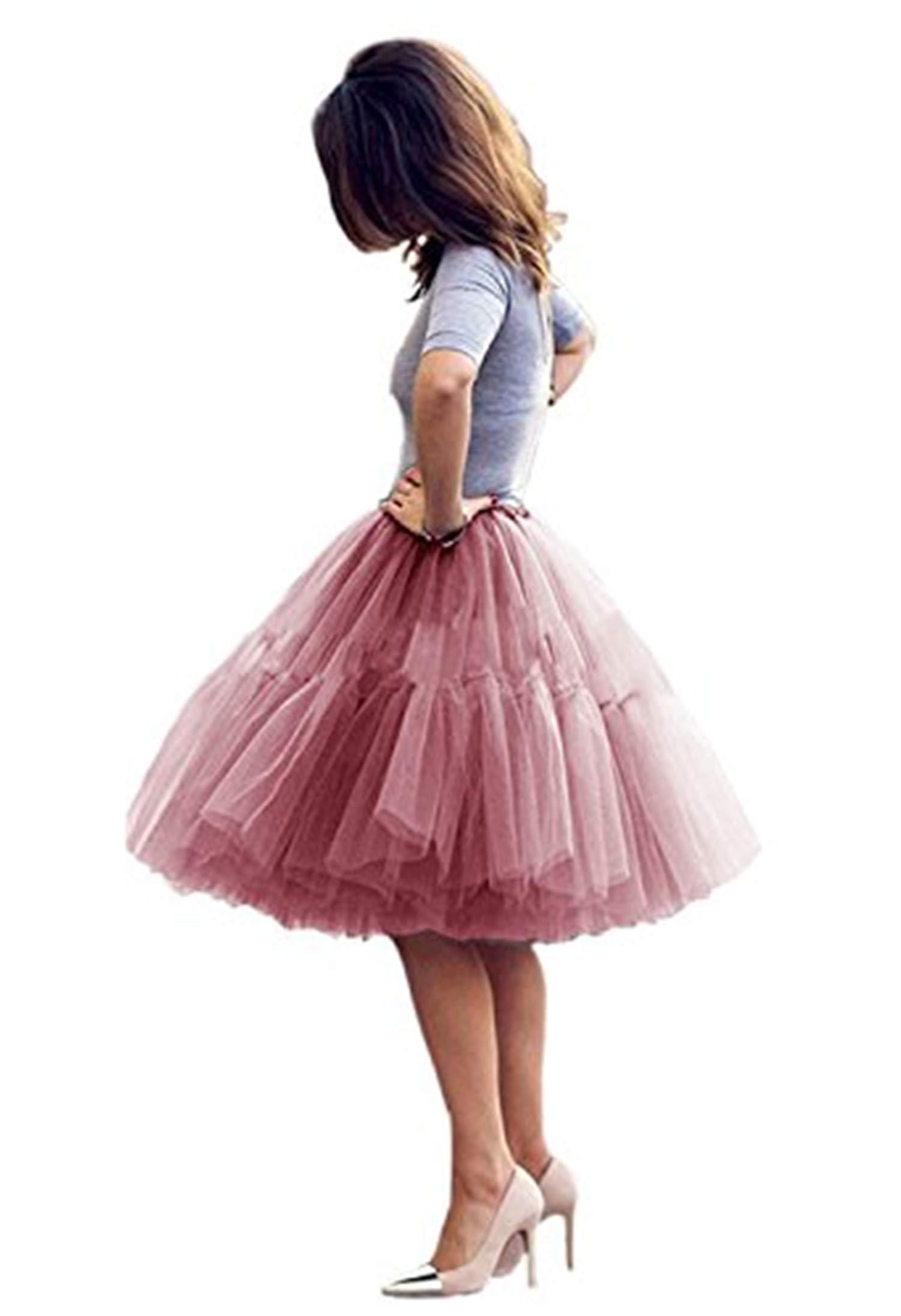 Tulle Skirt,Women's Midi Tulle Tutu Skirt Fluffy Princess Five Layers A line Party Prom Underskirt (Mauve, Waist:95cm-125cm)