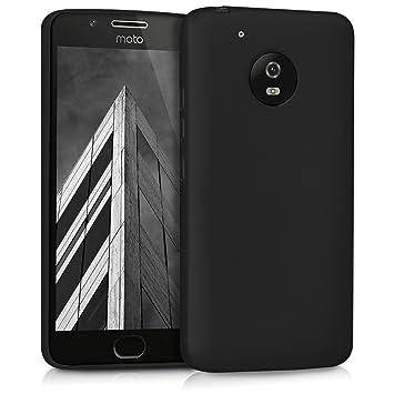 kwmobile Funda para Motorola Moto G5 - Carcasa para móvil en [TPU Silicona] - Protector [Trasero] en [Negro Metalizado]
