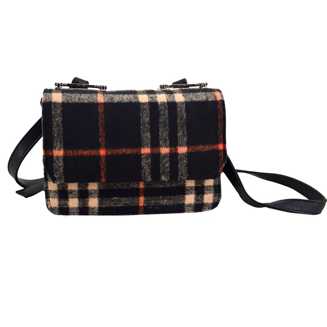 Felice Women Vintage Check Plaid Flap Shoulder Messenger Bag Small Crossbody Bag Cellphone Pouch Satchel Purse (black) by Felice (Image #1)