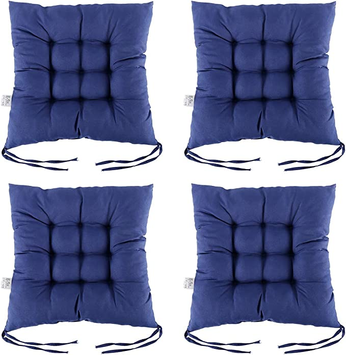 Newsoul1us 100 Cotton Chair Pads With Ties 15 X15 Square Seat Cushions Extra Comfortable Soft Ergonomic Pillows For Rocking Dining Patio Camping Kitchen Chairs More Navyblue 4 Pack Amazon Ca Home