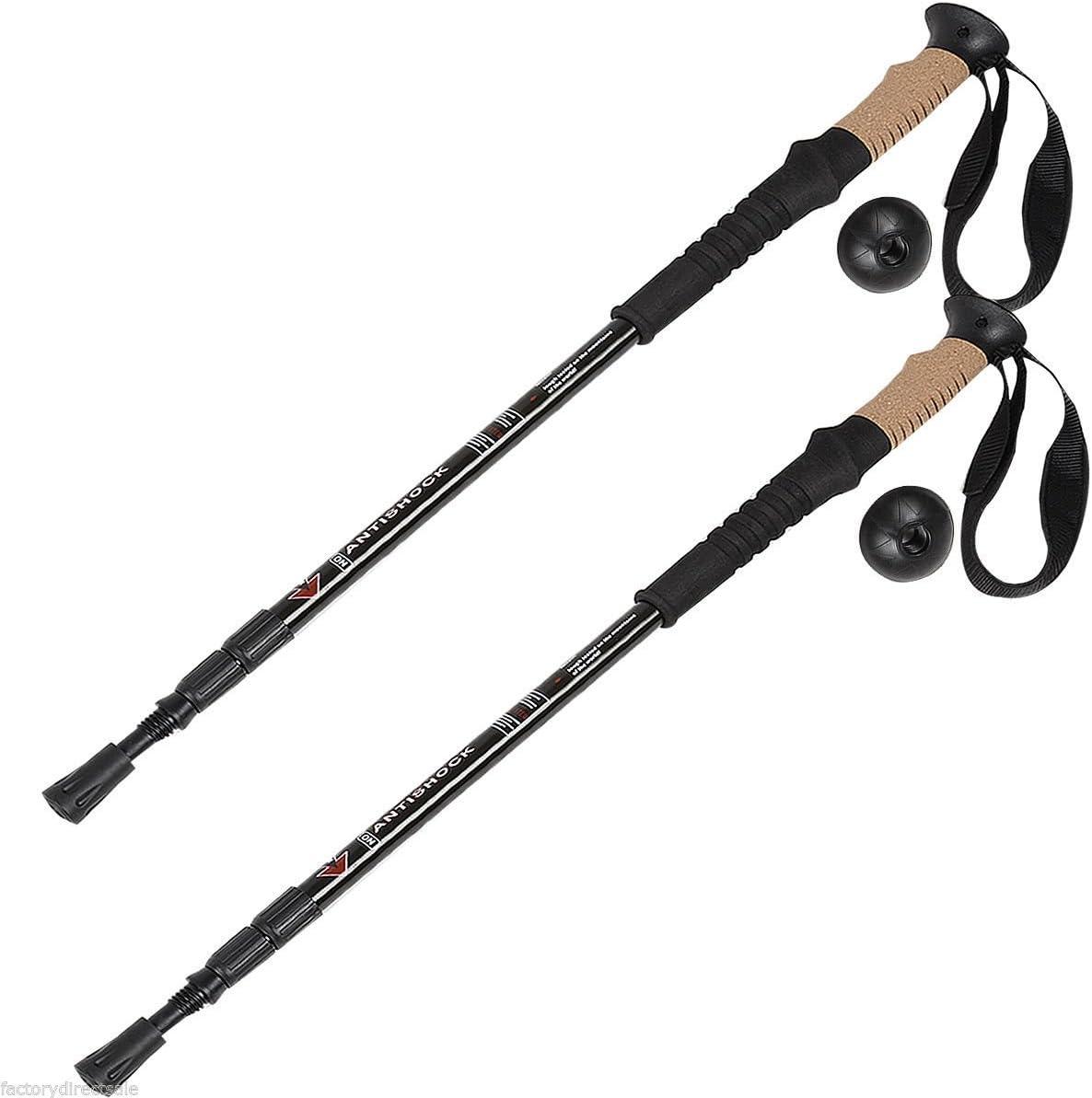Goplus 1 Pair Trekking Poles Walking Hiking Climbing Sticks Adjustable Anti-Shock Alpenstock 2 Pack