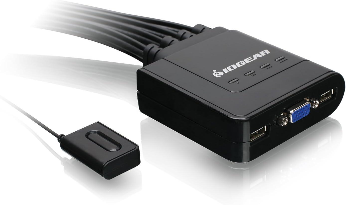 conmutador KVM Compatible con protocolo de se/ñal de Video VGA Heayzoki Conmutador KVM 4 entradas 1 Salida 4 Puertos VGA Iron Shell USB2.0 Accesorio de Host de computadora