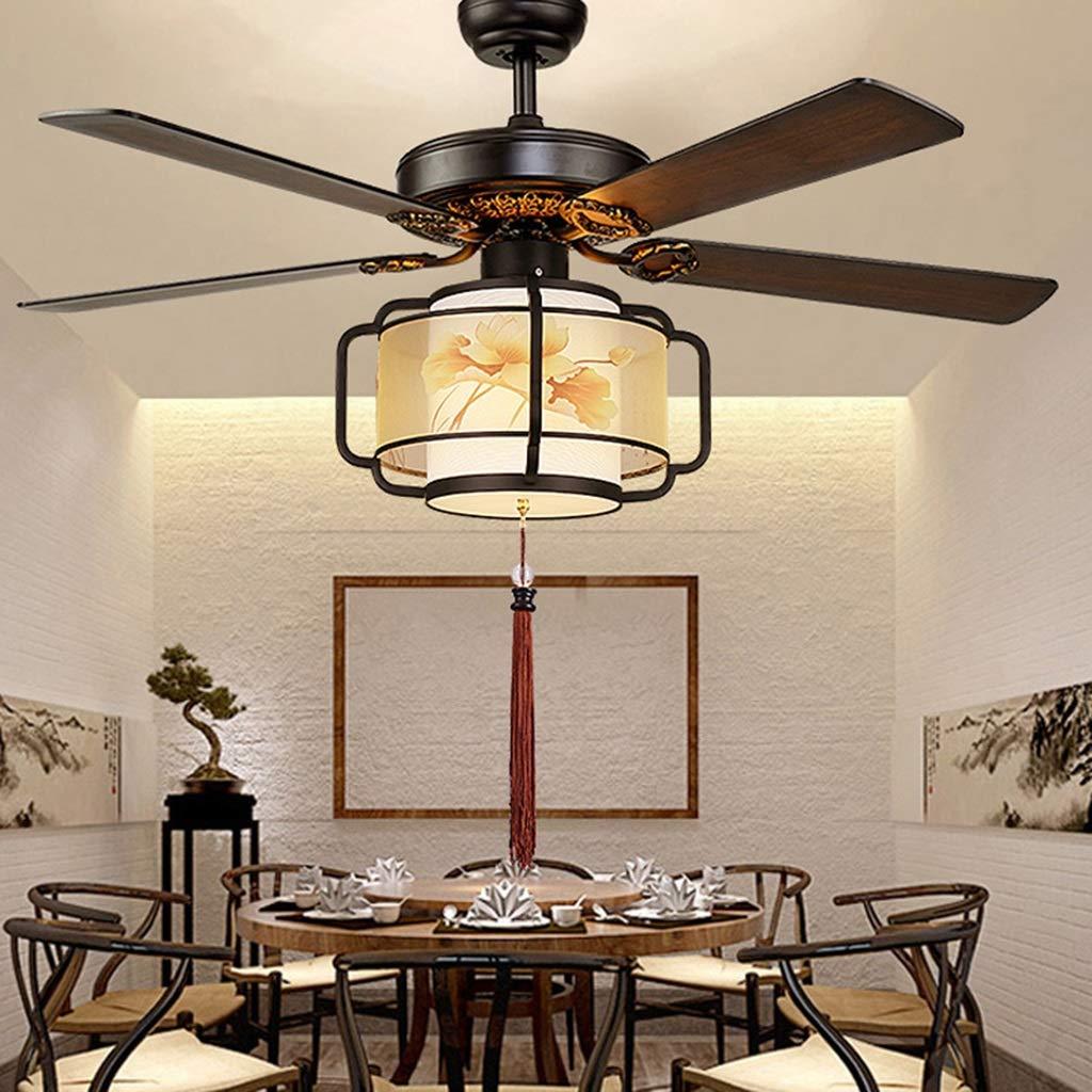 Deckenventilator Kronleuchter Lampe Brown Deckenventilator Licht 132 * 60cm mit Lampe Painted Stille LED 110 Elektro Wohnzimmer Fernbedienung Neu A