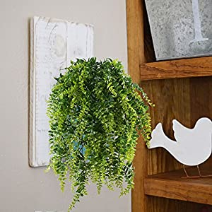 HOGADO 2pcs Artificial Hanging Ferns Plant Fake Plastic Hanging Greenery Plant Kimberly Queen Boston Fern for Wall Indoor 2