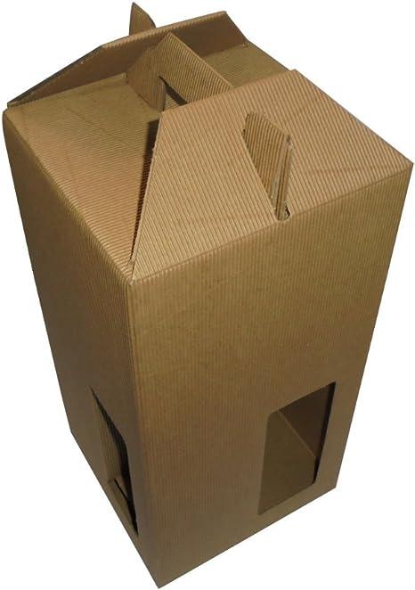 Unidades 10 caja porta botella (4 botellas de 0,75 y 1 litro) caja de cartón ondulado Estuche con mango Box for Bottles de papel: Amazon.es: Hogar
