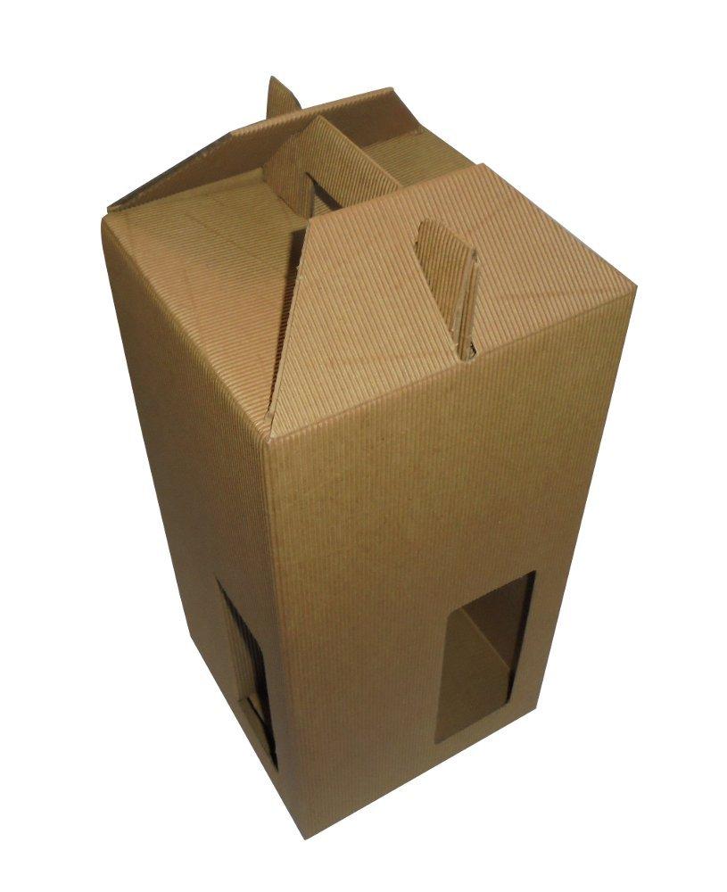 PZ 10 CONTENITORE PORTA BOTTIGLIA (4 BOTTIGLIE DA 0, 75 / 1 LITRO) SCATOLA IN CARTONE ONDULATO ASTUCCIO CON MANICO BOX FOR BOTTLES IN CARTA IMBALLAGGI ALIMENTARI