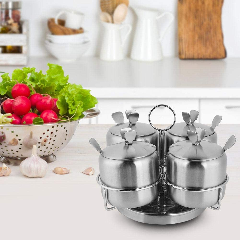 Stainless Steel Rotate Spice Jars For Salt Spices Pot Four Seasoning Bottles With Spoon,Cover Four