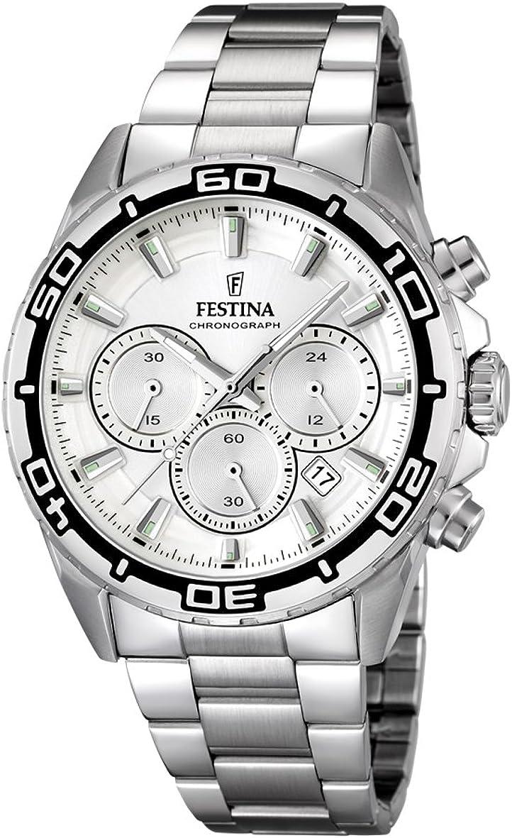 University Sports Press F16766/1 - Reloj de Cuarzo para Hombre, con Correa de Acero Inoxidable, Color Plateado