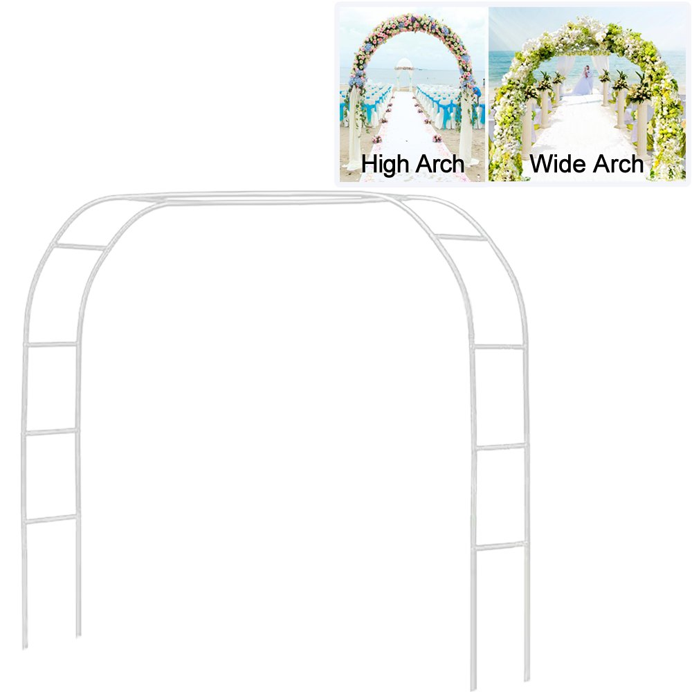 LeJoy Metal Pergola Arbor,7'6'' Wide x 6'5'' High/4'6'' Wide x 7'10'' High,Assemble Freely 2 Sizes,Wide Wedding Garden Arbor Bridal Party Decoration White Arbor
