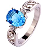 Psiroy Women's 925 Sterling Silver 2ct Rainbow Topaz Filled Ring