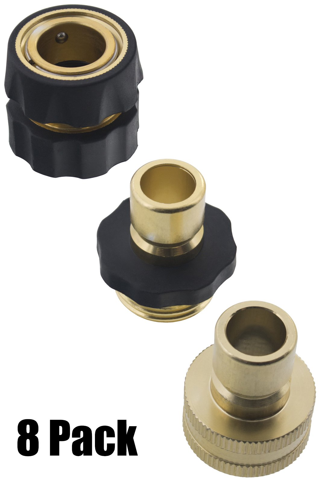 Erie Tools 8 Garden Hose Pressure Washer Quick Connector Kit with Male Female Connections and Nylon Grip
