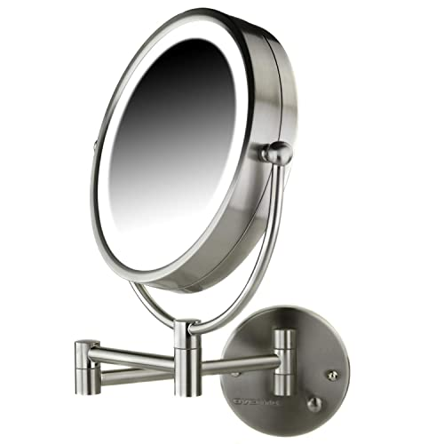 OVENTE Lighted Wall Mount Mirror, 8.5 Inch, Dual-Sided 1x 7x Magnification, Hardwired Electrical Connection, Natural White LED Lights, 9-Watts, Nickel Brushed MPWD3185BR1X7X