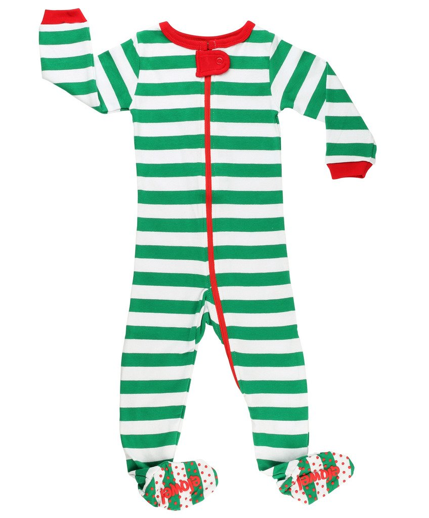 Elowel Baby Boys Girls Footed Christmas Striped Pajama Sleeper Cotton Size 6M-5Y ft-redwhite00