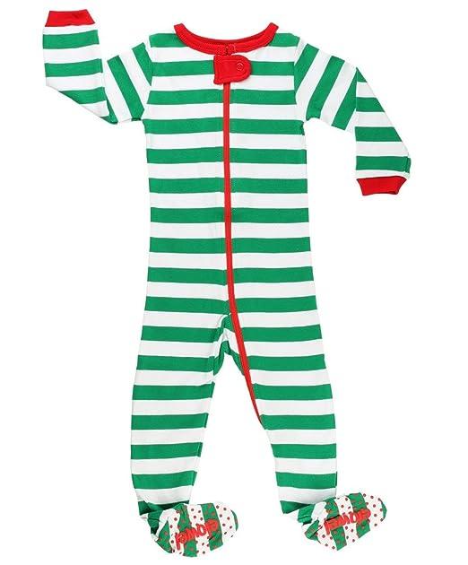 551644fa38 Amazon.com  Elowel Baby Boys Girls Footed Christmas Striped Pajama ...