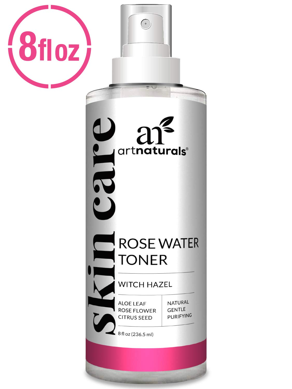 ArtNaturals Rosewater Witch Hazel Toner - (8 Fl Oz / 236ml) - Anti Aging Pore Minimizer for Facial Acne - Aloe Vera, Rose Water Petal Alcohol Free - Natural Face Cleanser Spray - All Skin Types