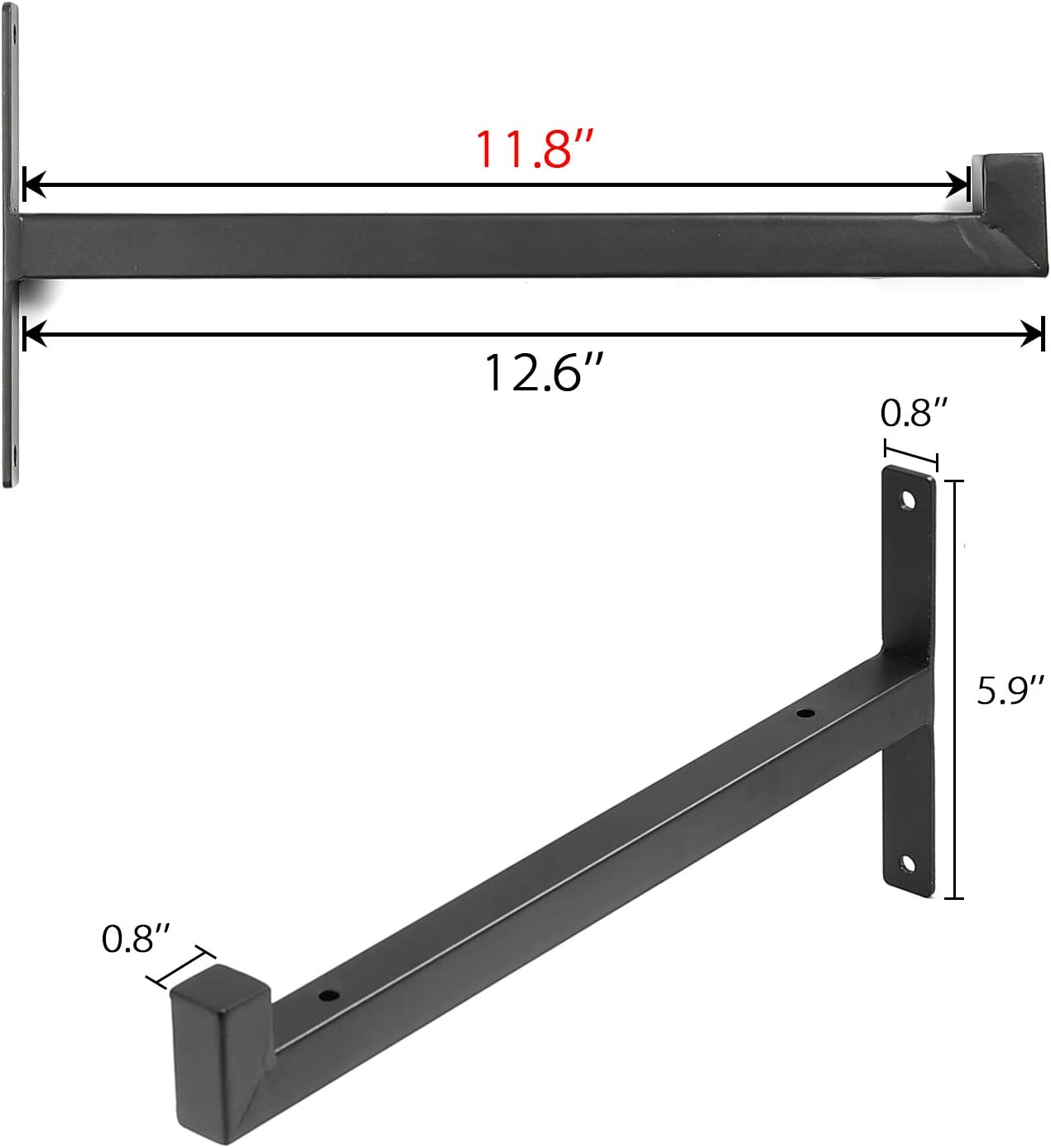 12 Inch Shelf Brackets with Lip, Heavy Duty Black Metal Industrial Shelving Bracket, Wall Mounted Rustic Farmhouse Iron Floating Support for DIY Open Shelves, Set of 4: Home Improvement