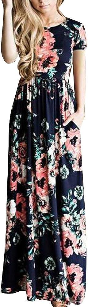 TALLA (EU44-46)L. Lover-Beauty Vestido Largo Floral Print Casual Verano para Noche Fiesta Playa Fiesta Manga Corta Sin Hombro Cuello Redondo Vestido Navidad Azul (EU44-46)L