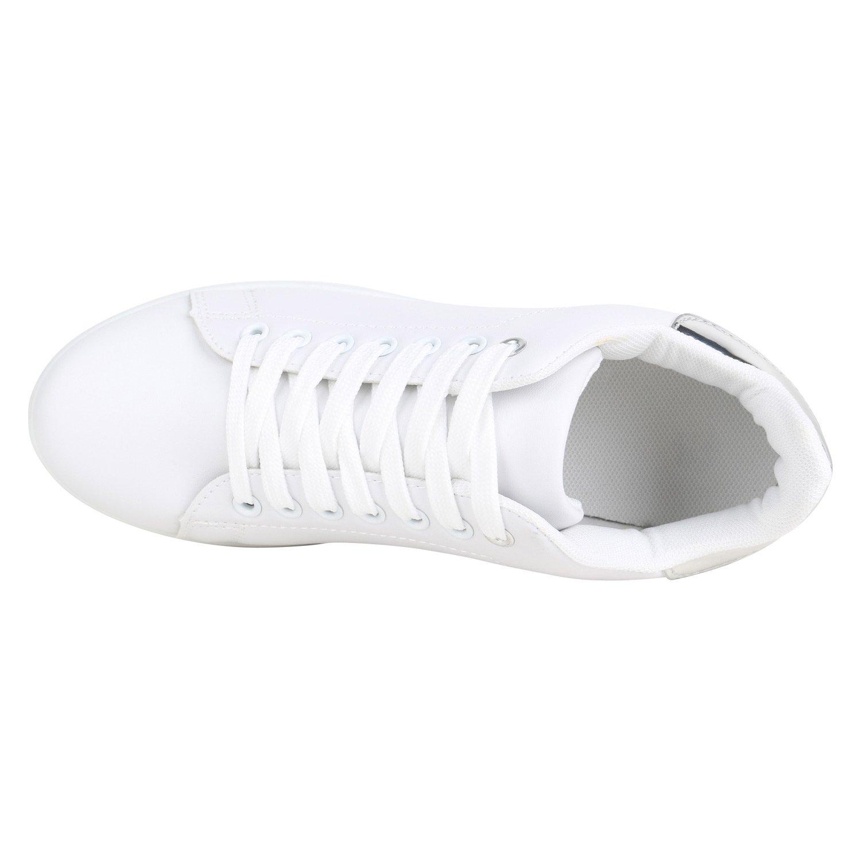 Stiefelparadies Flandell Damen Sneaker Niedrig Basic Flandell Stiefelparadies Weißs Silber Camiri 15e4d7