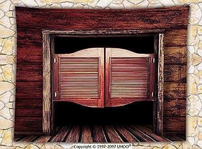 Western Decor Fleece Throw Blanket Old Vintage Rustic Wooden Wild West Swinging Cowboy Bar Saloon Door Throw